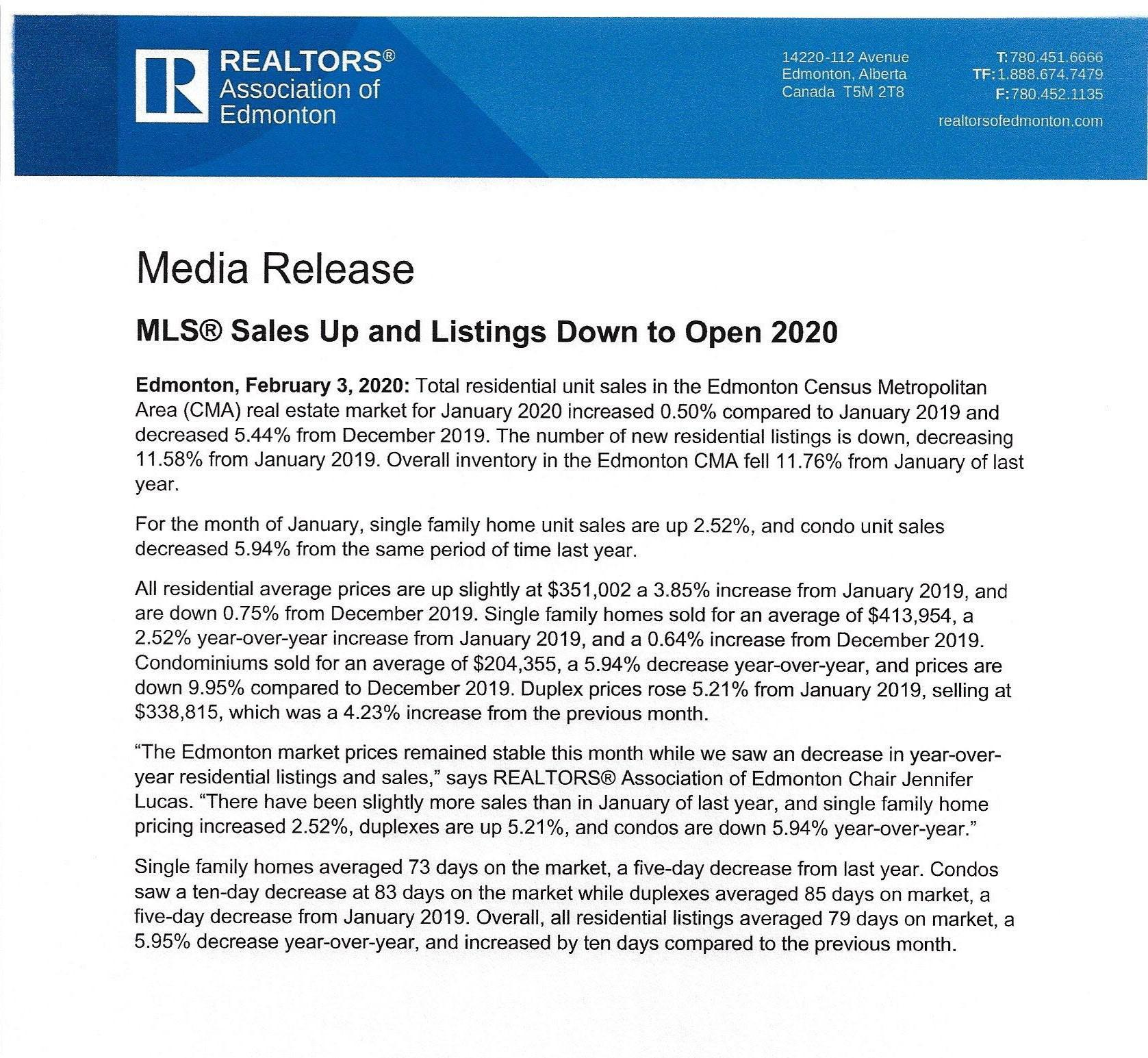 Realtors® Association of Edmonton February 3, 2020 News Release